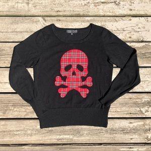 Plaid Skull & Crossbones Punk Black Sweater Sz L